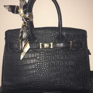 Handbags - Faux,black leather, alligator print handbag